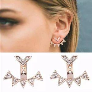 Trendy Double Sided Crystal Studs Jacket Earrings